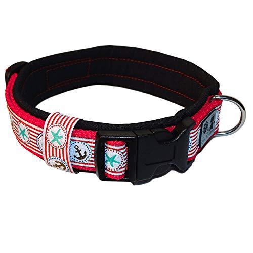 Eve Couture Hundehalsband Halsband Hund Rockabilly Rock´n Roll verstellbar gepolstert Maritim Anker rot schwarz weiß 30mm (M (ca. 36-42cm))