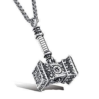 Beraspot Titanium Stainless Steel Large Thor Viking Hammer Pendants Necklace for Men Boys,Silver Chain Length 23.6Inch