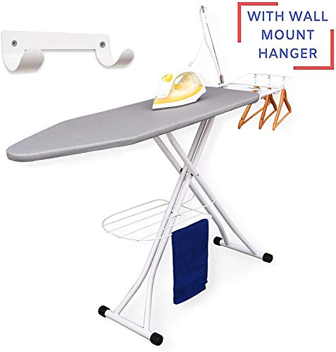 Xabitat Deluxe Ironing Board with Wall Mount Storage, Storage Tray for Finished Clothes, Wire Rack for Hanging Shirts and Pants, Safety Iron Rest, Home Laundry Room or Dorm Use - Grey