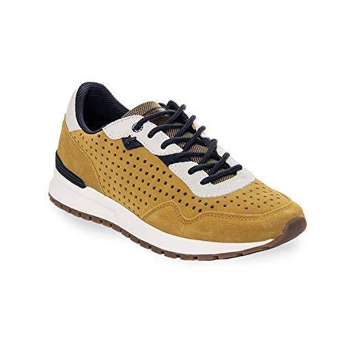 Zapatilla Sneaker Yumas Turin Mostaza Fabricado en Serraje Perforado Plantilla Confort látex para Hombre