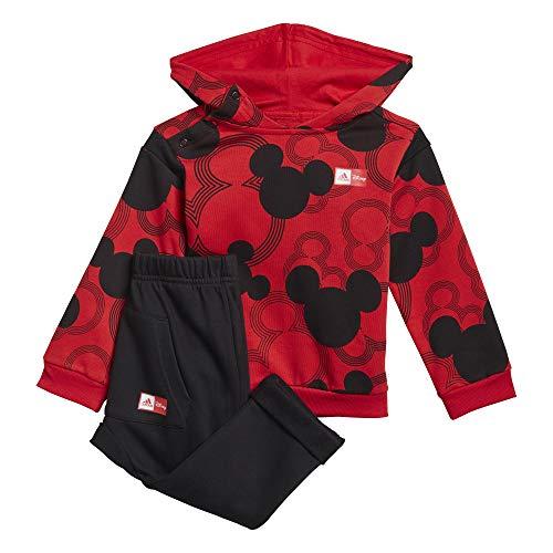 adidas GM6936 Inf DY MM JOGG2 Tuta da Ginnastica Bimbo 0-24 Top:Vivid Red/Black Bottom:Black 2-3A