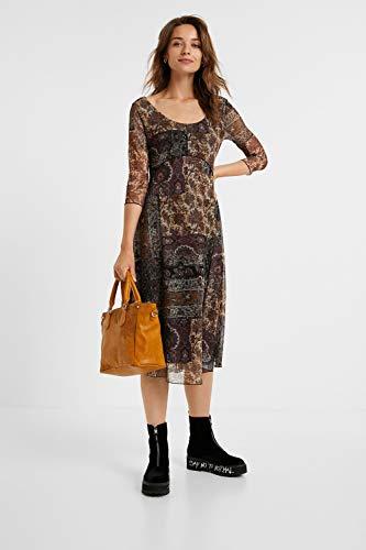 Desigual Vest_Kerala Vestido Casual de Tres Cuartos, marrón/Negro con Adornos, L para Mujer
