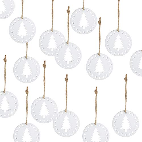 Logbuch-Verlag 15 pequeños colgantes de Navidad con árboles y estrellas blancas, 5 x 0,4 cm, colgantes planos de madera, como mini carta de Navidad