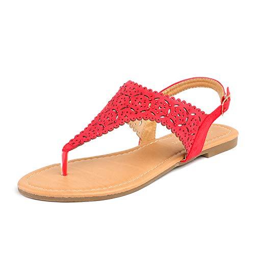 DREAM PAIRS Medinie Women Rhinestone Casual Wear Cut Out Flat Sandals Red Size 8.5
