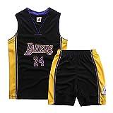 FRHLH Morey, die Raketen, Kobe Bryant # 24 Los Angeles Lakers - Herren Basketball Shorts Jersey Sportswear Set Jersey Tops und Shorts (XS-XXL)-Black-XS