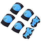 BOSONER Kids/Youth Knee Pad Elbow Pads for Roller Skates Cycling BMX Bike Skateboard Inline Rollerblading, Skating Skatings Scooter Riding Sports (Black/Blue, Small (3-7 Years))
