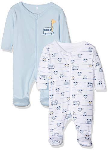 NAME IT Baby-Jungen NBMNIGHTSUIT 2P Zip W/F 2 NOOS Strampler, Mehrfarbig (Cashmere Blue Cashmere Blue), 56 (2er Pack)