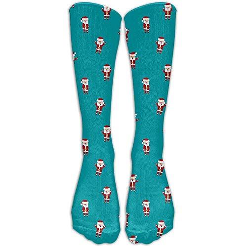 NA Kerstjaar Santa Claus Riding Premium kalf hoge sokken
