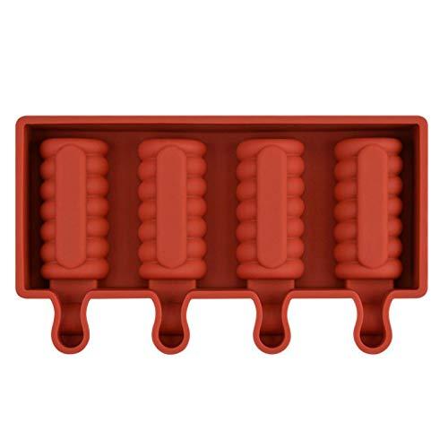 siqiwl Molde de silicona para cubitos de hielo, para helado, congelador, jugo, 4 celdas, tamaño grande, cubitera de hielo
