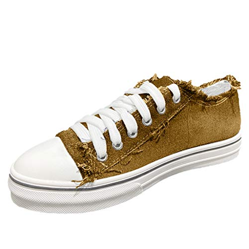 TIZUPI Schuhe Damen In Leichter Leinwand Gehen Sport Lässige Flache Schuhe Schnüren Bequeme Klassische Leinwand Rutschen auf Turnschuhen(Khaki,38