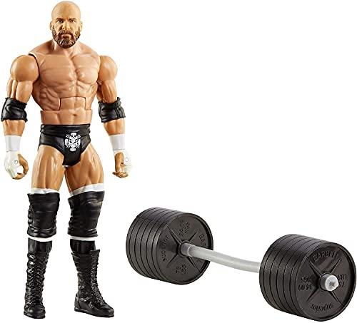 WWE Wrekkin Triple H destroza rivales, muñeco articulado de juguete con pesas (Mattel GVJ40)