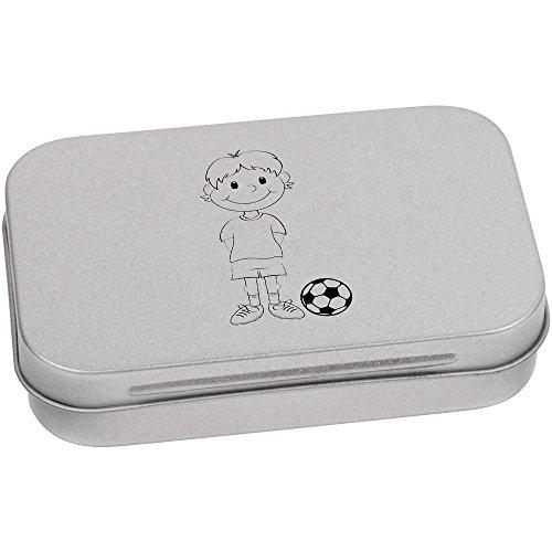 Azeeda 95mm x 60mm 'Junge Fußballer' Blechdose / Aufbewahrungsbox (TT00017293)