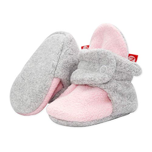 Zutano Cozie Fleece Baby Booties, Unisex Baby Shoes for Infants and Toddlers, 3M, Baby Pink/Gray Heather