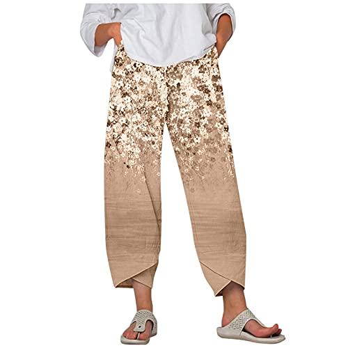 Julhold Pantaloni a Gamba Larga per Le Donne Colorate Stampa Floreale Elastico In Vita Conica Pantaloni Cropped Pantaloni A Strati Harem Tuta, cachi, XXXXXL
