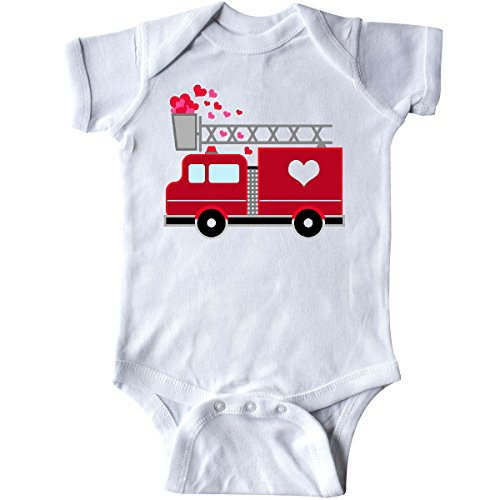 inktastic Valentine's Day Red Firetruck with Infant Creeper 6 Months White 2873d