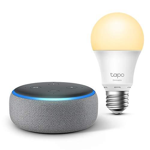 Echo Dot (3. Generation), Hellgrau Stoff + TP-Link Tapo smart Lampe (E27), Funktionert mit Alexa