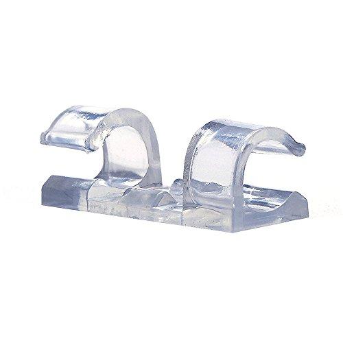 Livecity Lot de 20 Autocollant Fil Clips Organiseur Ligne câble Boucle Clip fixateur support, ABS, transparent, Mini