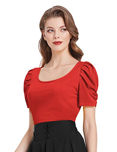Women's Elegant Red Ruched Sleeve Blouse 1940s Retro Dressy Top,Red,L