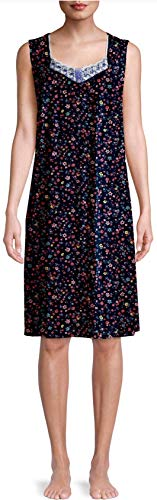 Tiny Floral Blue Cove Sleeveless Gown Nightgown - X-Large