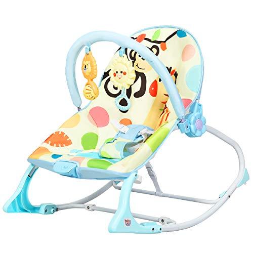 COSTWAY Babywippe mit 3 Liegepositionen und Vibrationsfunktion, 3 in 1 Babywippe & Babyschaukel & Babyliegestuhl mit Musik und Spielbogen (Blau ohne Sonnenverdeck)
