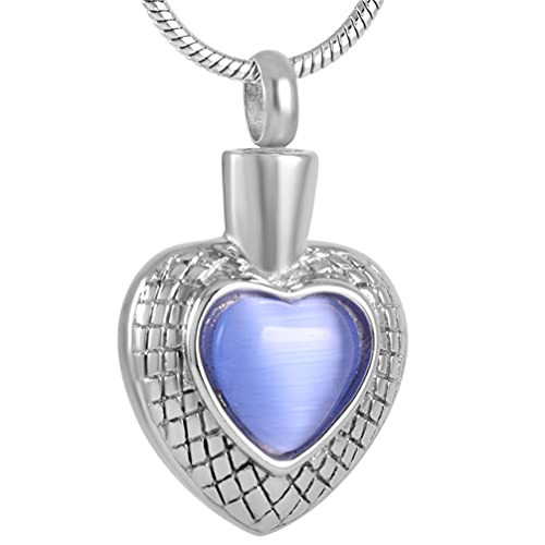 Liart Collar de Urna para Cenicero, Multicolor Corazón Ópalo Colgante Acero Inoxidable Joyería de Recuerdo de Cremación para Mujeres