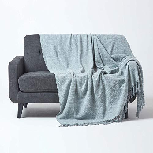 Homescapes Tagesdecke Nirvana, grau, Wohndecke/Sofaüberwurf aus 100% Baumwolle, 150 x 200 cm, Knoten-Optik mit Fransen