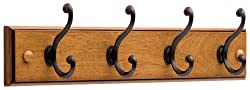 Liberty 128738 Four hook 18-inch Wide Wooden Hook Rail/Coat Rack