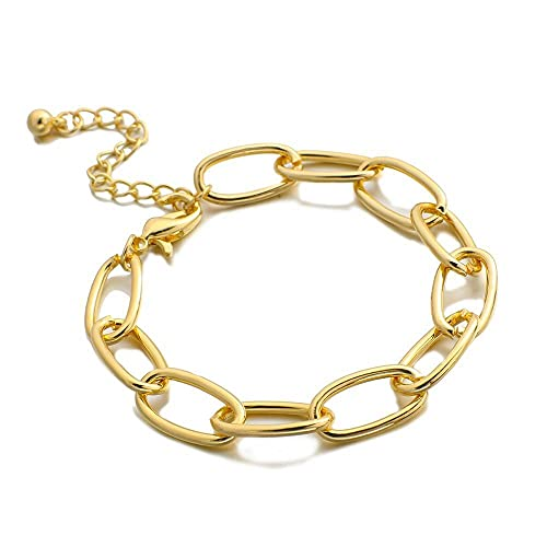 XKMY Pulsera de cadena minimalista de color dorado para mujer, hombre, joyería de moda, pulsera de aleación simple exagerada (color de metal: color oro)