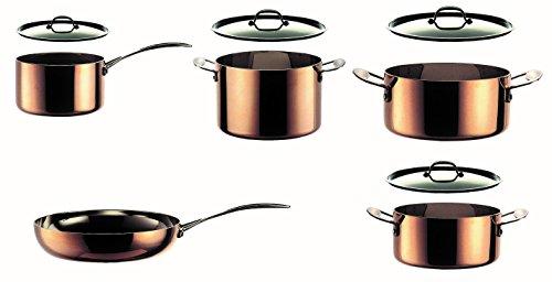 MEPRA Toscana Batteria Kitchen, 9 Pezzi, Trimetallo Acciaio Inossidabile 18/10, Alluminio e Rame
