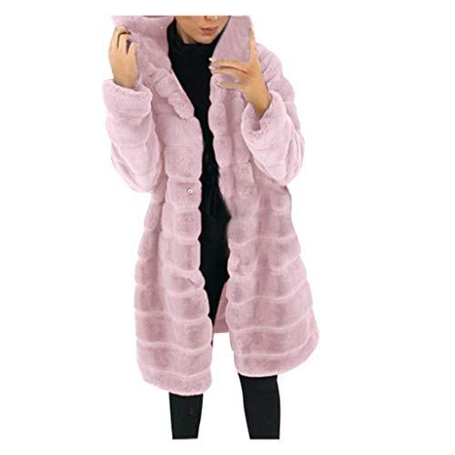 BUKINIE Damen Winter-Parka, dick, warm, Kunstfell, mit Kapuze, lang, Pfoat, Kunstfell, zottelig Gr. 38, rose