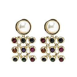 Multi-Color Pearl and Gemstone Drop Dangle Earrings