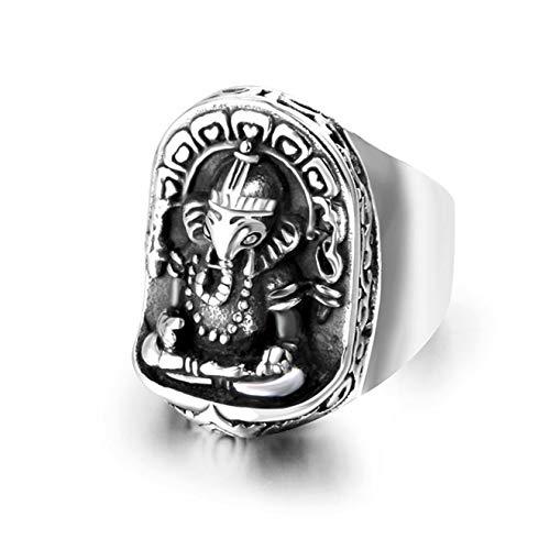 Qiuaii Retro Titan Stahl Thai Idol Nase Vermögen Ring Herrenschmuck Silber, Größe 62 (19.7)