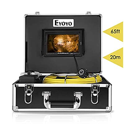 Eyoyo Pipe Pipeline Inspection Camera 20M/65ft Drain Sewer Industrial Endoscope Video Plumbing System with 7 Inch LCD Monitor 1000TVL DVR Recorder Snake Cam (Include 8GB SD Card)