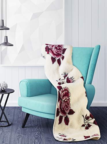 Manta de lana natural Merino con diseño de rosa roja, ideal para regalo (super king 200 x 250 cm)