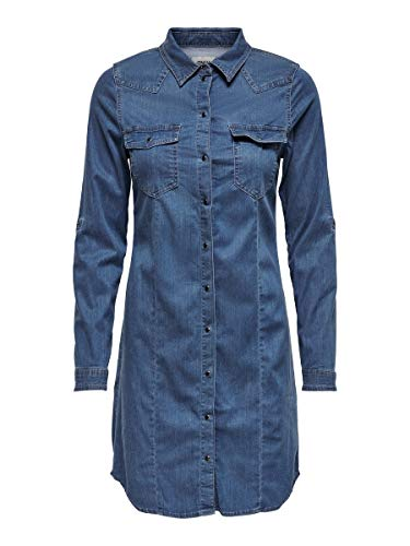 ONLY Damen ONLVIC Life LS Dress BB CRF2790 Kleid, Medium Blue Denim, 42