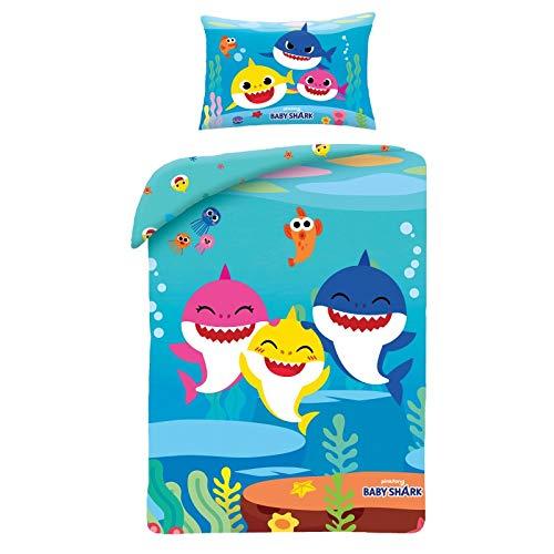 Halantex - BSH001JBL - Bed Set Cotton Baby Shark Dad Mom Son Grandpa Grandma Shark of the Famous Song Duvet Cover and Pillowcase - Multicolor - 100% Cotton - 100x135cm + 40x60cm