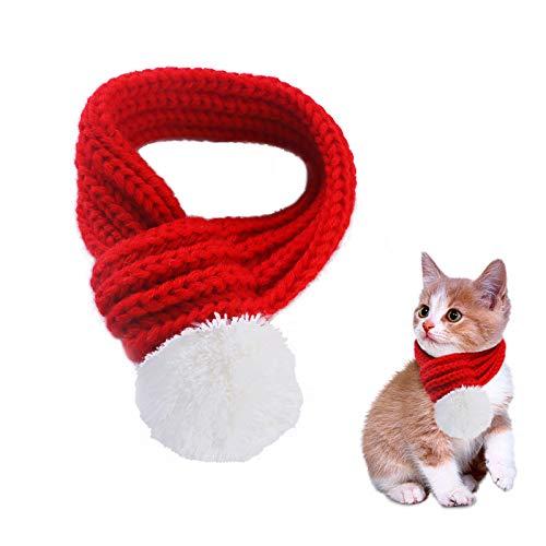 PEDOMUS Haustier Kostüm Weihnachten Schal rot Pet Schal Haustier Bekleidung für Hunde und Katzen Größe XS