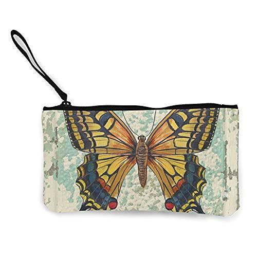 Monedero de viaje con diseño de mariposa retro con bolsa de cremallera de lona
