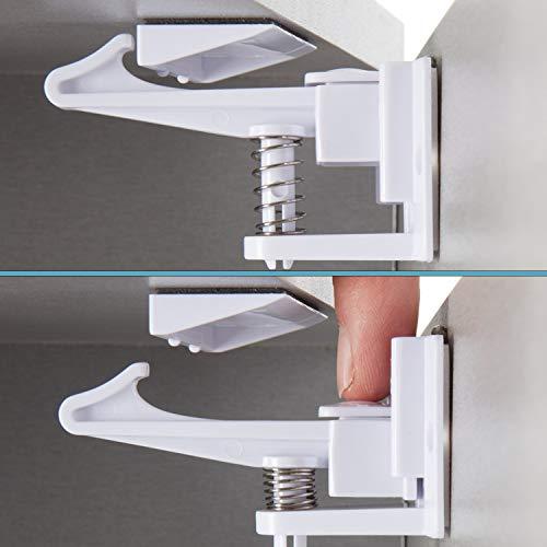 Moppisaurus Kindersicherung Schrank I 10er Pack I Schubladensicherung Baby mit innovativer Holdfunktion I Premium Kindersicherung Schubladen I unsichtbare Schranksicherung Baby