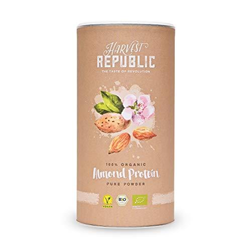 HARVEST REPUBLIC Poudre de protéines d'amande bio 1 x 550 g 50% de protéines, mousse organique bien soluble, crème