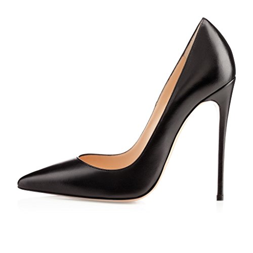 elashe Damen High Heel Pumps | 12cm Spitze Zehen Stiletto | Geschlossen Pumps Schwarz EU42