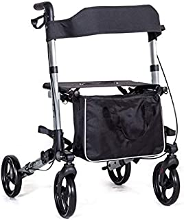 X Cruise Folding lightweight compact walker rolling walking frame with seat - silver - only 17.2lbs