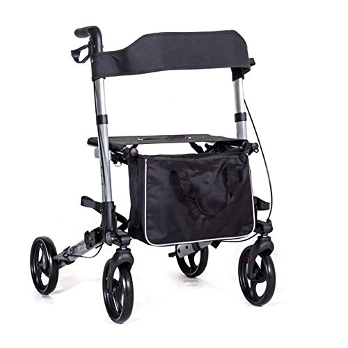 X Cruise Folding lightweight compact rollator wheeled walker walking frame with...