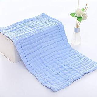 Muslindukar 6 lager supermjuka och absorberande babytvättlappar 100 % bomull 25 x 50 cm, Blå, av The Fashion and Design Store