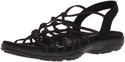Skechers Women's Reggae Slim-Forget Knotted Web Gore Open Toe Slingback Sandal, Black, 8 M US