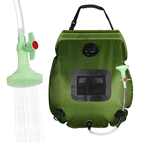 Sooair Campingdusche Solardusche Tasche, Solardusche 20l mit Abnehmbarem Schlauch und Switchable Duschkopf, Solardusch Wassersack für Pooldusche, Wandern im Freien (Armeegrün)