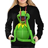 Kermit The Frog Women's Hooded Sweatshirt Classic Long-Sleeved top, Pocket Hooded Sweatshirt Black