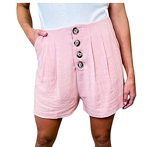 Pantalón Corto Mujer Abotonados Shorts Mujer de Color Sólido Pantalones Mujer Verano con Bolsillos Laterales Pantalon Mujer Suelta y Transpirables Shorts Casual Cita,Fiesta,Playa