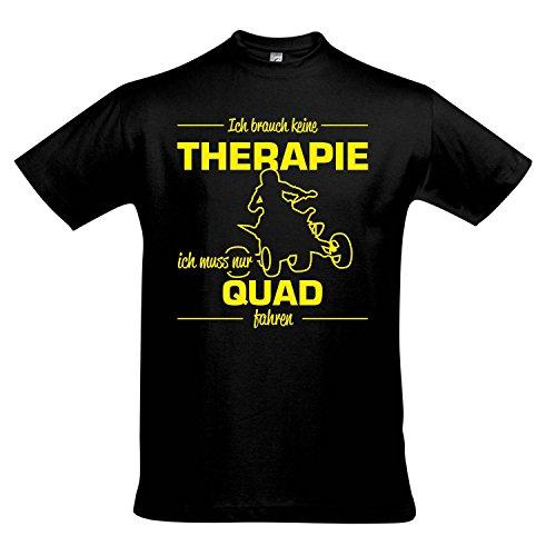 T-Shirt - Therapie - Quad - Sport Fun Kult Shirts S-XXL, Deep Black - gelb, L