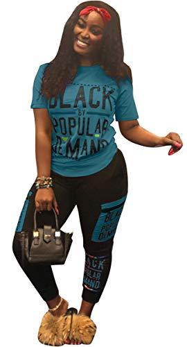 Womens Sexy 2 Piece Sports Outfit Set Shirt Bodycon Pants Joggers Clubwear Tracksuit Sportswear Set Blue